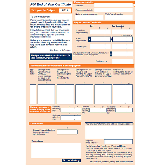 How to use your p60 to get a uk tax rebate sample p60 spiritdancerdesigns Image collections